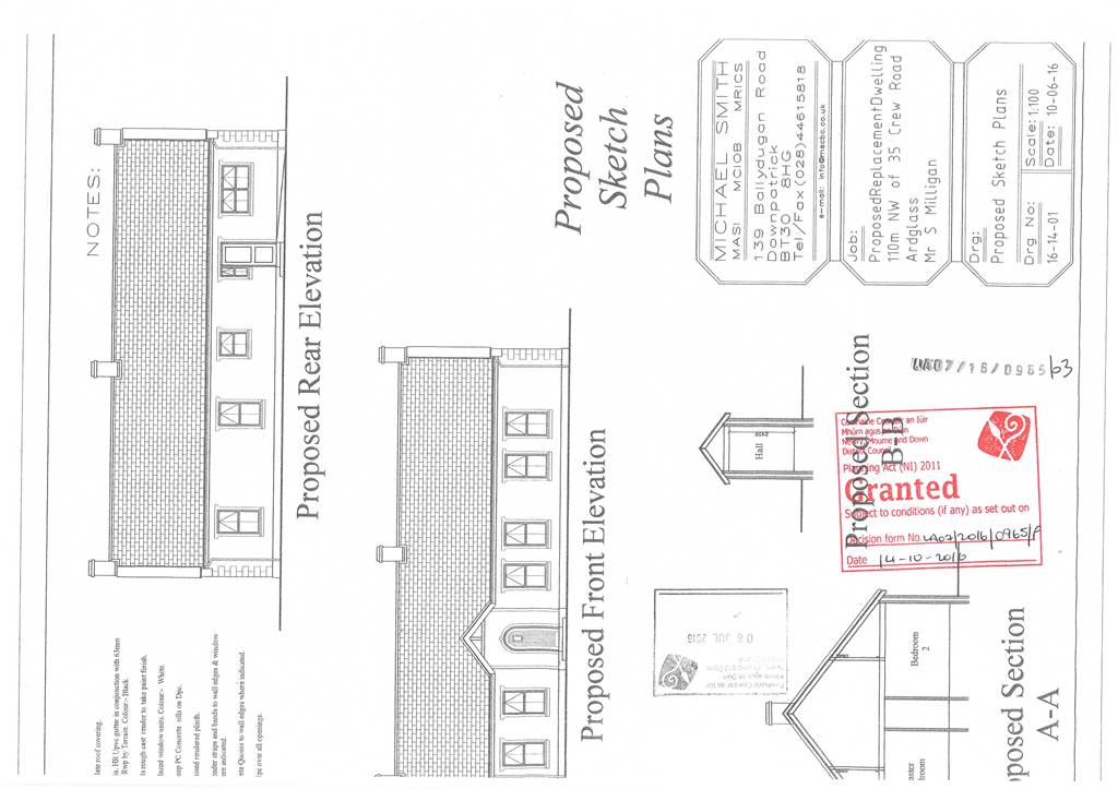 Building site with planning permission for replacemnet dwelling   Crew Road